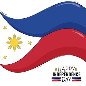 손으로 그린 필리핀 독립 기념일 그림