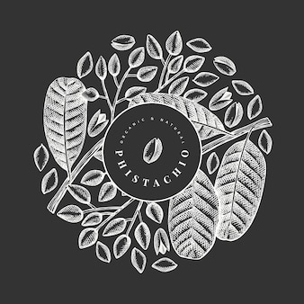 Hand drawn phistachio branch and kernels design
