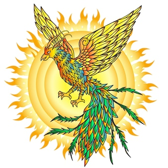 Uccello di fenice disegnato a mano e sole ardente