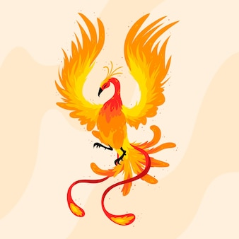 Hand drawn phoenix bird illustrated