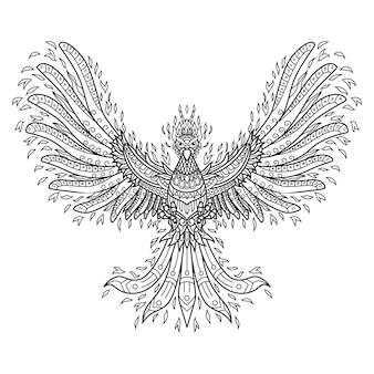 Hand drawn of phoenix in zentangle style