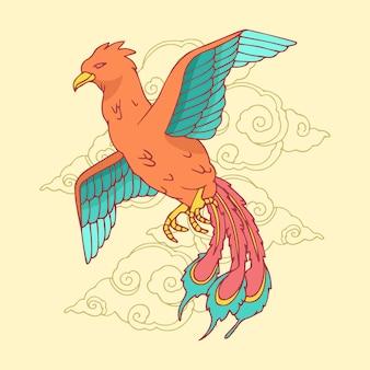Hand-drawn phoenix