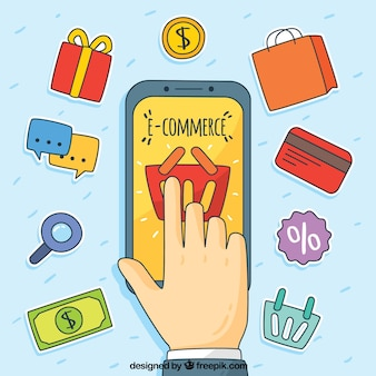 Telefono disegnato a mano e dito con oggetti di shopping
