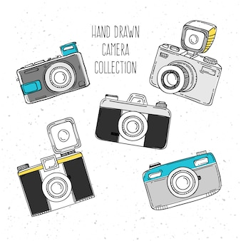 Hand drawn photo camera collection