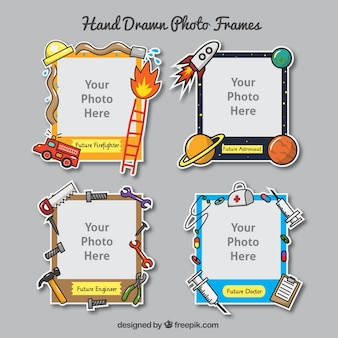 Hand drawn photo frames set