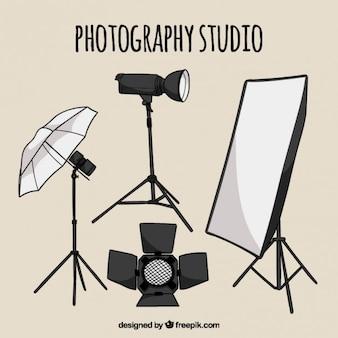Elementi studio fotografico disegnati a mano