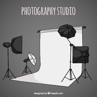 A mano fotografia disegnato studio con gli accessori