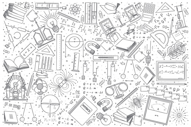 Hand drawn physics doodle set