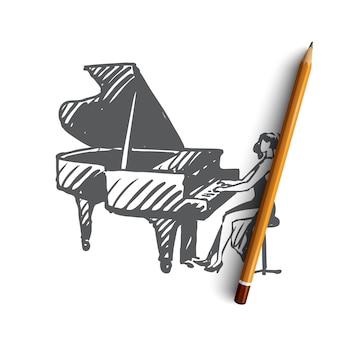 手描きのピアノミュージシャン