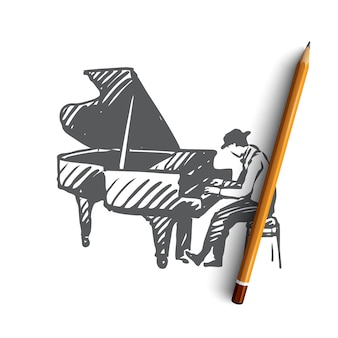 Hand drawn piano player