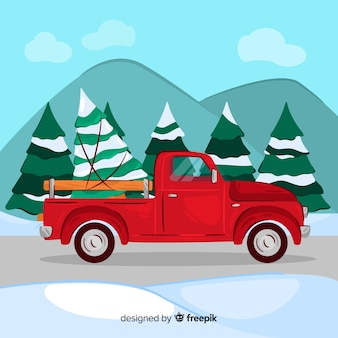 Hand drawn pickup truck with christmas tree