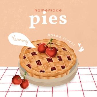 Hand drawn pie instagram ad template
