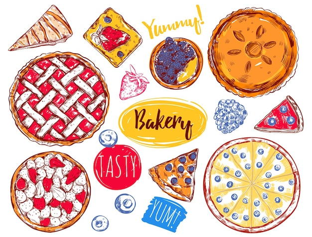 Hand drawn pie slice cake elements set