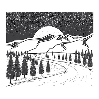 Hand drawn pine trees and forest illustration