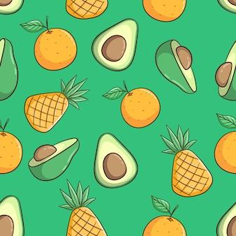 Рисованной ананас, авокадо и оранжевые фрукты бесшовный фон