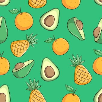Hand drawn pineapple, avocado and orange fruit seamless pattern