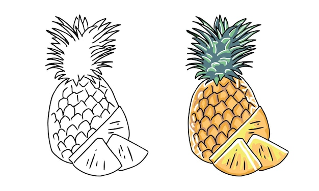 Hand drawn pineapple coloring page for kids