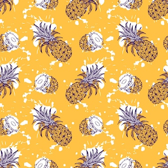 Hand drawn pineapple seamless pattern with wedges and splashes effect