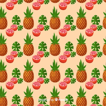 Hand drawn pineapples and grapefruits pattern