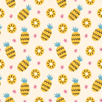 手描きのパイナップルパターン