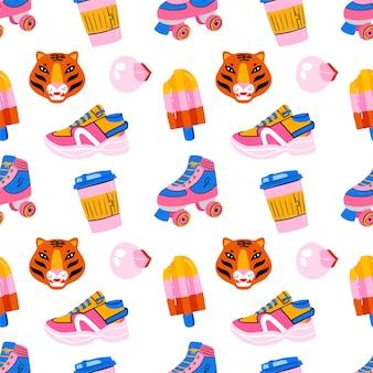 Ручной обращается розовый и синий бесшовные модели с роликом, мороженым, кофе, тигром в стиле 80-x 90-x