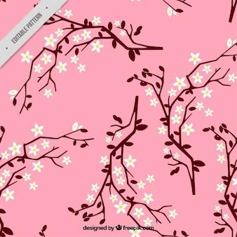 Disegnata a mano sfondo rosa di fiori di ciliegio