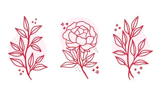 Hand drawn pink botanical flower logo elements
