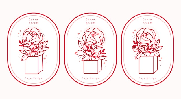 Hand drawn pink botanical rose flower logo elements