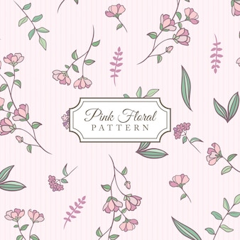 Hand drawn pink floral background