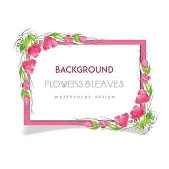 Fiore rosa disegnato a mano e foglie di sfondo di acquerello