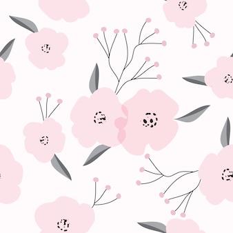 Ручной обращается розовый цветок бесшовные фоном шаблон