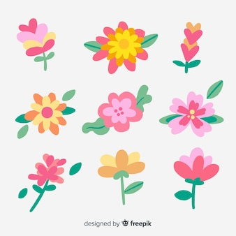 Hand drawn pink flowers collection