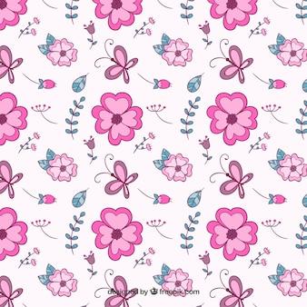 Hand drawn pink flowers pattern