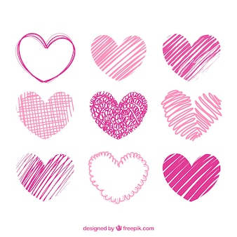 Hand drawn pink hearts pack