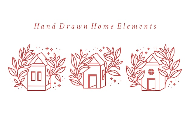 Hand drawn pink home and botanical floral logo element collection