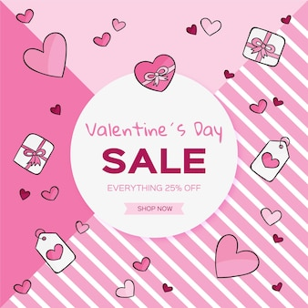 Нарисованные рукой розовые иллюстрации распродажа ко дню святого валентина
