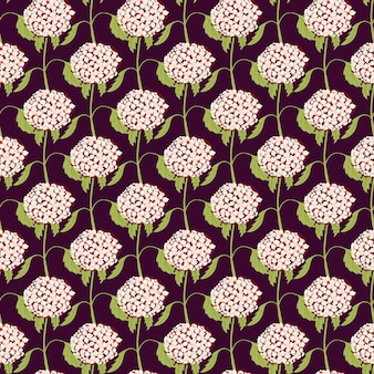 Ручной обращается розовый маленький цветок гортензии формы бесшовные модели. темный фон. простой ботанический принт. векторная иллюстрация для сезонных текстильных принтов, ткани, баннеров, фонов и обоев.