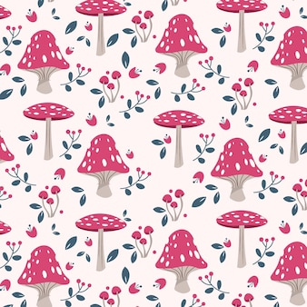 Hand drawn pink mushroom pattern