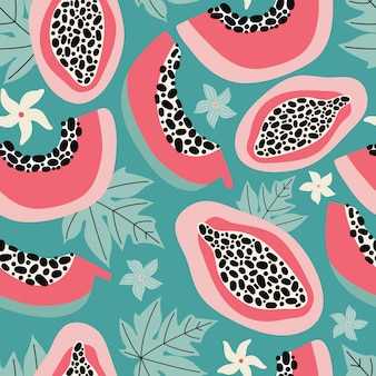 Hand drawn pink papaya seamless pattern on a turquoise background. exotic summer fruit cut in half with flesh, seeds, leaves and flowers. modern design for textiles, fabric, packaging.  flat