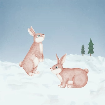 Hand-drawn pink rabbits in a snowy forest
