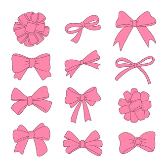 Hand drawn pink ribbons set