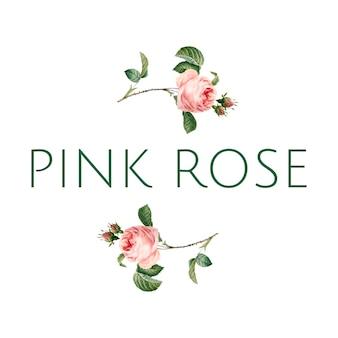 Hand drawn pink rose emblem