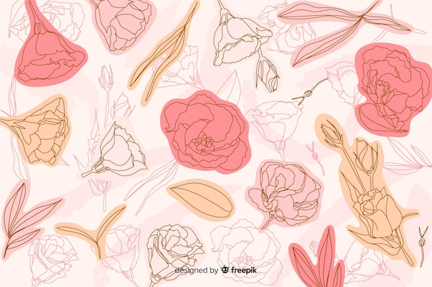 Hand drawn pink roses background
