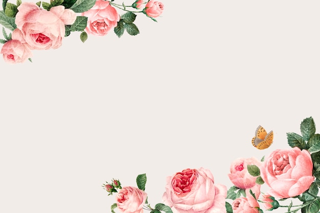 Hand drawn pink roses frame on beige background vector