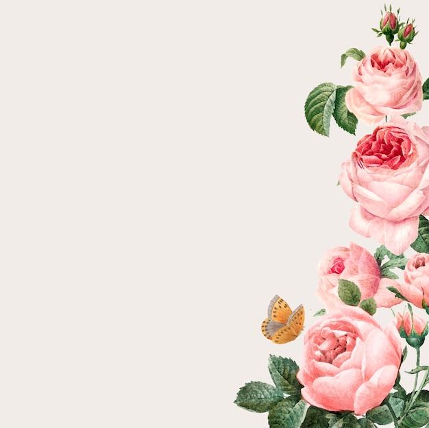 ベージュの背景に手描きのピンクのバラのフレーム