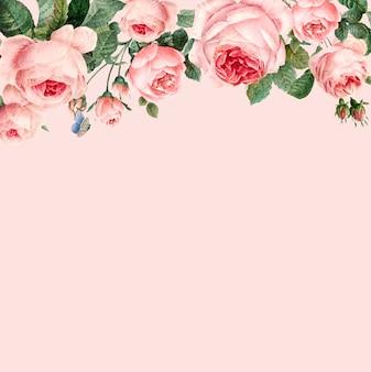 パステルピンクの背景ベクトルに手描きのピンクのバラのフレーム