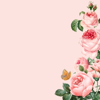 Hand drawn pink roses frame on pastel pink background