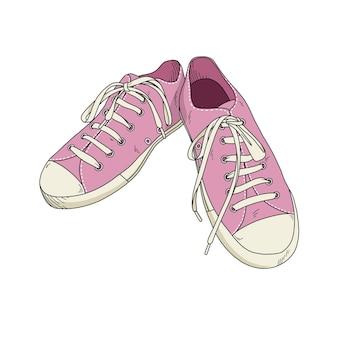 손으로 그린 핑크 신발