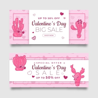 Hand drawn pink valentine's day sale banners set
