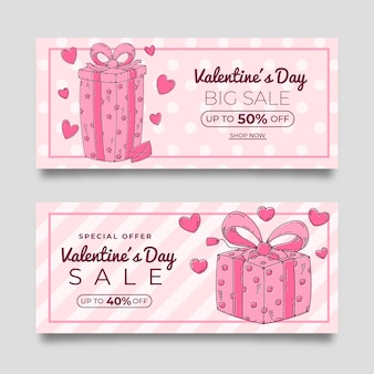 Hand drawn pink valentine's day sale banners